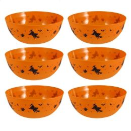 Halloween Party Food Bowls - 6 x Large Orange Plastic Serving Witch Bowls 24cm